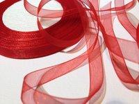 Organzaband Röd 10 mm