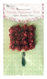 Paper Roses 16 pcs Hot Red