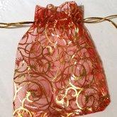 Round Organza Bag Red/Gold Swirls