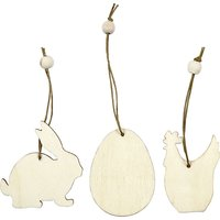 Easter Wooden Ornament 9 pcs