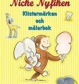 Nicke Nyfiken - målarbok med klistermärken
